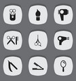 set of 9 editable hairdresser icons includes vector image