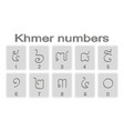 set of monochrome icons with khmer numbers vector image vector image