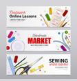 sewing realistic banners vector image vector image
