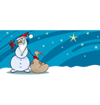 Snowman santa with sack greeting card vector image vector image