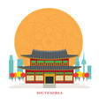 south korea landmarks with decoration background vector image