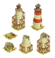 Stages of construction brick lighthouse vector image vector image