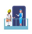 stewardess welcoming indian man passenger at vector image