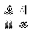 swimming pool simple related icons vector image