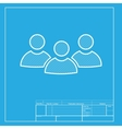 Team work sign White section of icon on blueprint vector image