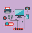 Technology connections concept idea in flat style vector image vector image