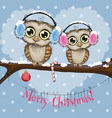 two owls on a branch vector image vector image