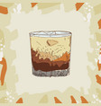white russian cocktail alcoholic bar drink hand vector image