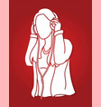 woman listening music with headphones cartoon vector image