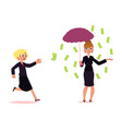 woman trying to catch flying money banknote rain vector image vector image