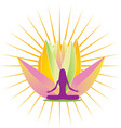 yoga shine and pink lotus flower logo vector image vector image