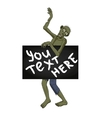 Zombie dancer isolated with banner for you text vector image