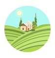 Lodge with vineyards icon in cartoon style vector image