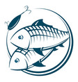 fish and bait silhouette vector image