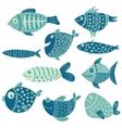 set of fish vector image