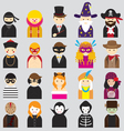 Various People Symbol Icons Fancy Mask Set vector image