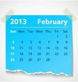 2013 calendar february colorful torn paper vector image vector image