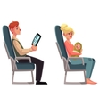 Airplane passengers - woman with baby and man vector image vector image