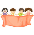 Banner design with boys and girls vector image vector image