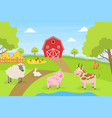 beautiful summer rural landscape with green field vector image