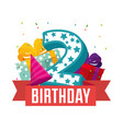 birthday card with candle number two vector image vector image