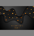 black smooth waves and golden hearts luxury vector image vector image