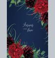 burgundy red navy blue wedding invitation vector image vector image