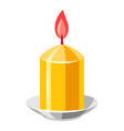 burning yellow candle vector image