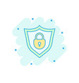 cartoon lock with shield security icon in comic vector image