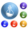 chemical flask icons set vector image vector image