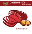 christmas ham and potato festive food and vector image vector image