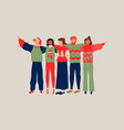 christmas people friend group hug vector image vector image