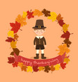 circle autumn leaf thanksgiving boy greeting card vector image