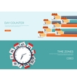 Clock flat icon World time vector image vector image