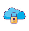 cloud computing with padlock vector image vector image