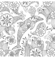 Coloring page with one jumping dolphin on floral vector image vector image