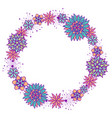 cute girly doodle round floral frame vector image