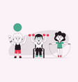disabled kids do sports exercises with dumbbells vector image