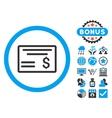 Dollar Cheque Flat Icon with Bonus vector image vector image