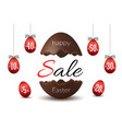 easter egg text sale chocolate broken happy vector image vector image