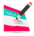 Feedback Paper Card with Pencil and Options vector image vector image