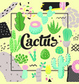 Floral design with cactuses succulents background vector image