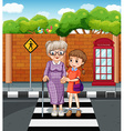 Girl and old lady crossing the road vector image vector image
