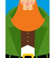 Good Leprechaun in green frock coat Big Red Beard vector image vector image