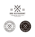 grill barbeque with crossed fork logo design vector image vector image