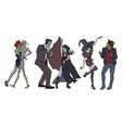 halloween dancing monsters zombie girl mummy vector image
