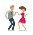 happy couple dancing dance twist cartoon vector image