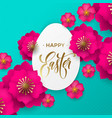 happy easter greeting card egg paper cut and vector image vector image