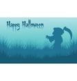 Happy Halloween warlock backgrounds silhouette vector image