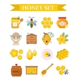 Honey icon set flat cartoon style Beekeeping vector image vector image